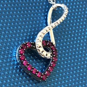Jewelry - Dainty Ruby sterling silver heart pendant necklace